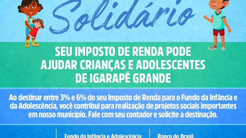 CAMPANHA IMPOSTO DE RENDA SOLIDÁRIO!
